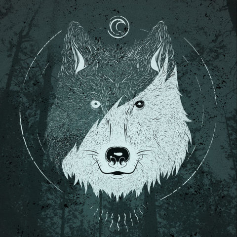 Ilustración dos lobos
