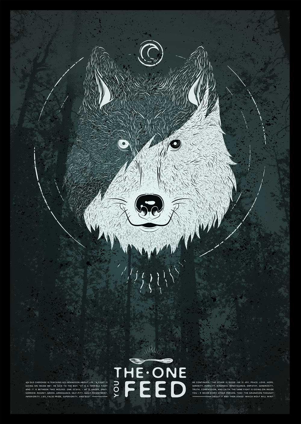 Poster ilsutración lobos.