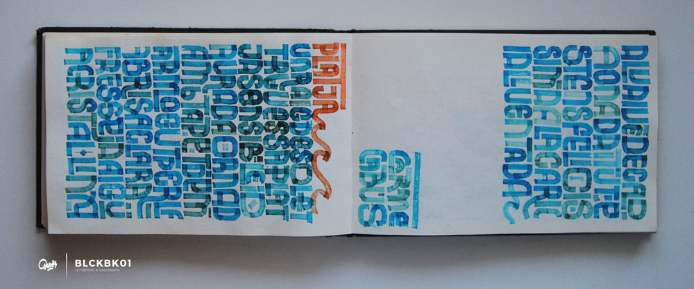 Detalle de cuaderno de Caligrafía y Lettering